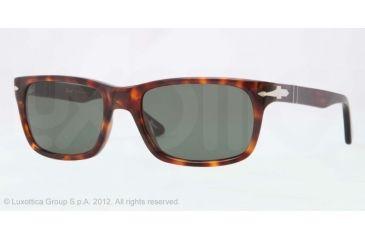 Persol PO3048S Sunglasses 24/31-55 - Havana Frame, Crystal Green Lenses