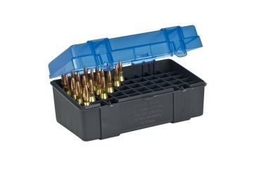 3-Plano Molding 50 Count Rifle Ammo Case with Hinged Cover, Dark Gray & Trans Blue