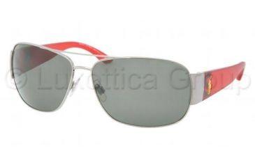 Polo PH3063 Sunglasses 90029A-6514 - Gunmetal / Red Frame, Polarized Grey Lenses