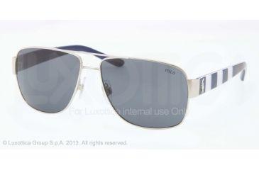 Polo PH3085 Sunglasses 926087-59 - Shiny Silver Frame, Dark Blue Lenses