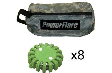 Powerflare PF-200 Softpack,  8 Safety Lights,Red LED,ACU Bag,8 Batteries, Olive Drab Shell SP8ACU-R-OD