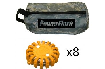 Powerflare PF-200 Softpack,  8 Safety Lights,Red LED,ACU Bag,8 Batteries, Orange Shell SP8ACU-R-O