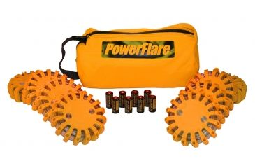 Powerflare PF-200 Softpack,  8 Safety Lights,Amber LED,Orange Bag,8 Batteries, Orange Shell SP8O-A-O