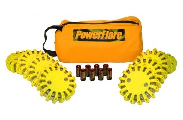 Powerflare PF-200 Softpack,  8 Safety Lights,Amber LED,Orange Bag,8 Batteries, Yellow Shell SP8O-A-Y