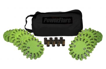 Powerflare PF-200 Softpack,  8 Safety Lights,Amber LED,Black Bag,8 Batteries, Olive Drab Shell SP8BK-A-OD
