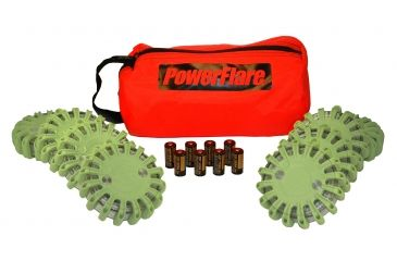 Powerflare PF-200 Softpack,  8 Safety Lights,Amber LED,Red Bag,8 Batteries, Olive Drab Shell SP8R-A-OD