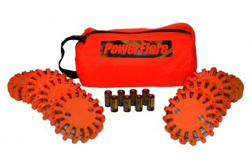 Powerflare PF-200 Softpack,  8 Safety Lights,Amber LED,Red Bag,8 Batteries, Orange Shell SP8R-A-O