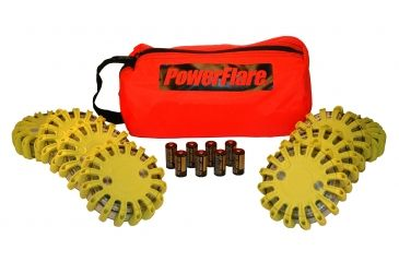 Powerflare PF-200 Softpack,  8 Safety Lights,Amber LED,Red Bag,8 Batteries, Yellow Shell SP8R-A-Y