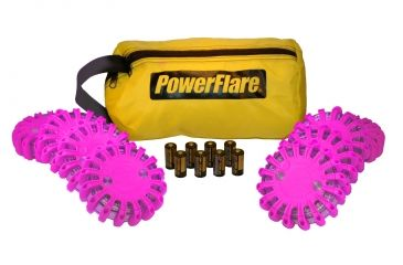 Powerflare PF-200 Softpack,  8 Safety Lights,Amber LED,Yellow Bag,8 Batteries, Hot Pink Shell SP8Y-A-HP
