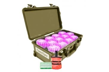 Powerflare PF-200 Incident Command Pack - 24 Lights,Amber LED,Tan Case, 24 Batteries, Hot Pink Shell PFPACK24T-A-HP