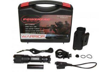 PowerTac Warrior Weapon Package LED Flashlight 650 Lumens, Black