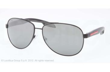 Prada BENBOW PS53PS Sunglasses 1BO7W1-62 - Black Demi Shiny Frame, Grey Mirror Silver Lenses