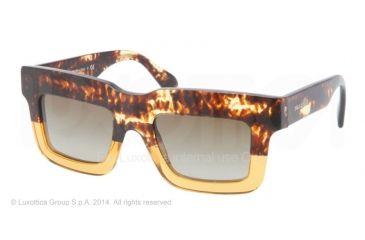 Prada CAST PR11QS Sunglasses DG61X1-48 - Spotted Brown On Yellow Frame, Brown Gradient Lenses