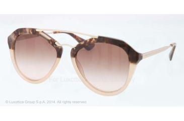 Prada CINEMA' PR12QS Single Vision Prescription Sunglasses PR12QS-ROZ0A6-54 - Lens Diameter 54 mm, Frame Color Brown Havana Grad Brown
