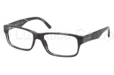 Prada Eyeglasses PR16MV with No-Line Progressive Rx Prescription Lenses EAR1O1-5316 - Top Striped Blue / Horn Frame