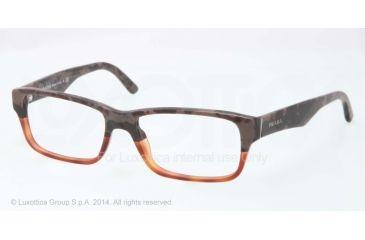 Prada Eyeglasses PR16MV with Lined Bifocal Rx Prescription Lenses QE11O1-53 - Mimetic Bronw/Brown Transp Frame