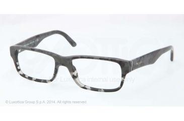 Prada Eyeglasses PR16MV with Lined Bifocal Rx Prescription Lenses RON1O1-53 - Mimetic Black/mt Grey Transp Frame