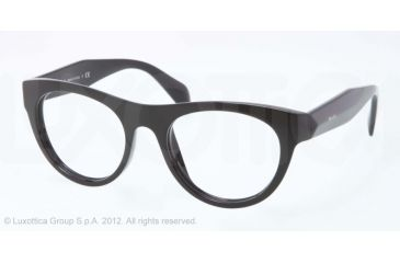 Prada JOURNAL PR02QV Single Vision Prescription Eyeglasses 1AB1O1-50 - Black Frame