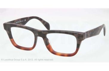 Prada JOURNAL PR09QV Bifocal Prescription Eyeglasses QE11O1-52 - Mimetic Bronw/mt Brown Transp Frame