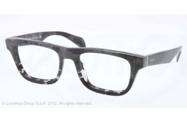 Prada JOURNAL PR09QV Bifocal Prescription Eyeglasses QE21O1-52 - Mimetic Black/gray Transp Frame