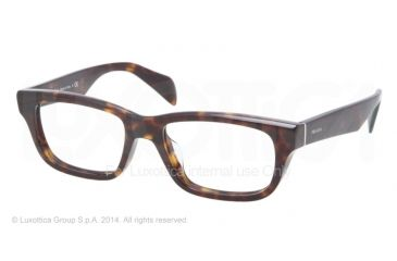 Prada JOURNAL PR11QV Eyeglass Frames 2AU1O1-52 - Havana Frame
