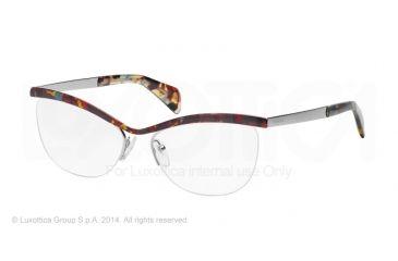 Prada JOURNAL PR64QV Eyeglass Frames NAG1O1-54 - Havana Spotted Blue Frame
