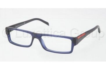 Prada Linea Rosa Eyeglasses PS01AV with Lined Bifocal Rx Prescription Lenses IAW1O1-5315 - Matte Blue Frame