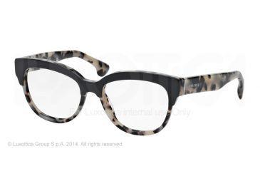 Prada PORTRAIT PR21QV Eyeglass Frames ROK1O1-51 - Top Black/white Havana Frame