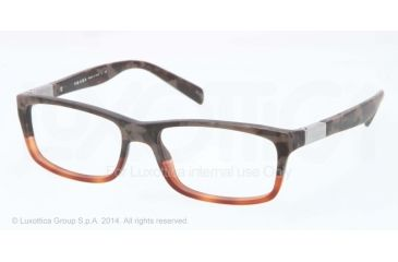 Prada PR02OV Prescription Eyeglasses QE11O1-53 - Mimetic Bronw/Brown Transp Frame