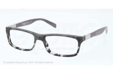 Prada PR02OV Prescription Eyeglasses RON1O1-53 - Mimetic Black/mt Grey Transp Frame