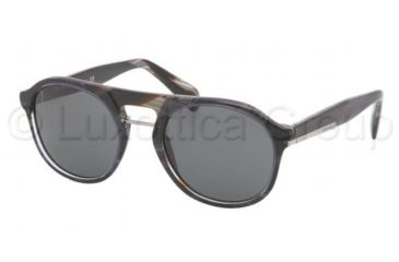 Prada PR09PS Sunglasses EAR1A1-5120 - Striped Blue Horn Frame, Gray Lenses