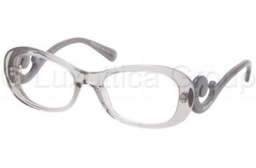 Prada PR09PV Progressive Prescription Eyeglasses HA91O1-5419 - Transparent Gray Frame