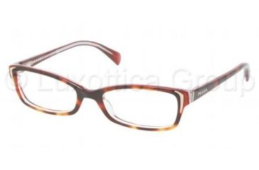 Prada PR12OV Single Vision Prescription Eyeglasses FAK1O1-5117 - Top Gradient Havana / Pink Frame, Demo Lens Lenses