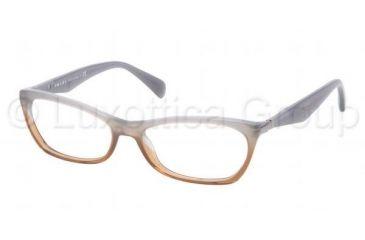 Prada PR15PV Progressive Prescription Eyeglasses MAY1O1-5316 - Gray Gradient Brown Frame, Demo Lens Lenses