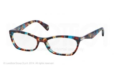 Prada PR15PV Progressive Prescription Eyeglasses NAG1O1-53 - Havana Spotted Blue Frame