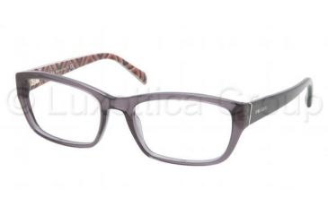Prada PR18OV Progressive Prescription Eyeglasses KAM1O1-5218 - Transparent Gray Frame