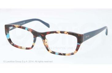 Prada PR18OV Bifocal Prescription Eyeglasses NAG1O1-52 - Havana Spotted Blue Frame