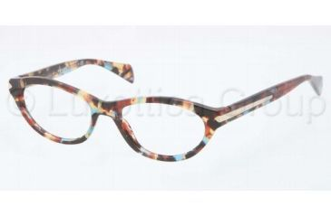 Prada PR18PV Progressive Prescription Eyeglasses NAG1O1-5217 - Havana Spotted Blue Frame, Demo Lens Lenses