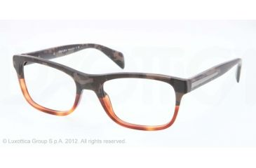 Prada PR19PV Bifocal Prescription Eyeglasses QE11O1-53 - Mimetic Bronw/brown Transp Frame