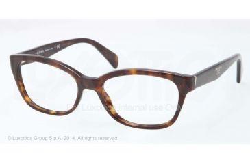 Prada PR20PV Single Vision Prescription Eyeglasses 2AU1O1-52 - Havana Frame