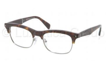 Prada PR22OV Single Vision Prescription Eyeglasses 2AU1O1-5219 - Havana Frame