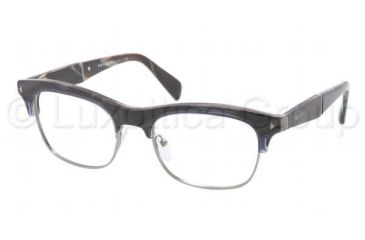 Prada PR22OV Prescription Eyeglasses EAR1O1-5219 - Striped Blue Horn Frame, Demo Lens Lenses