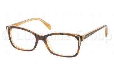Prada PR23OV Eyeglass Frames FAL1O1-5217 - Top Havana/Yellow Frame, Demo Lens Lenses