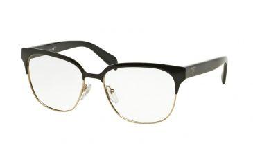 cfbc9f027c61 Prada PR54SV Eyeglass Frames 1AB1O1-52 - Black pale Gold Frame