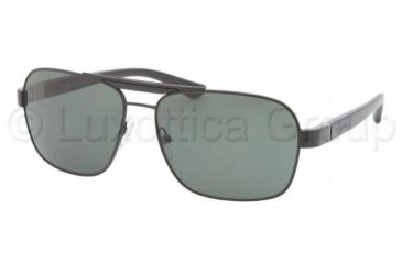 Prada PR55OS Sunglasses 1BO3O1-6015 - Matte Black Frame, Gray Green Lenses