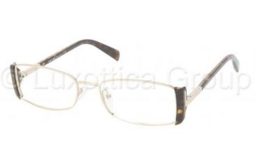 Prada PR61NV Progressive Prescription Eyeglasses 2AU1O1-5117 - Pale-gold/Havana