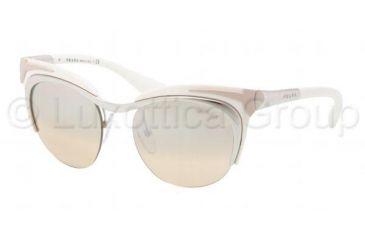 Prada PR61OS Sunglasses 1BC1J1-4917 - Silver Brown/Ivory Frame, Silver Mirror Gradient Lenses