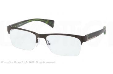 Prada PR67PV Single Vision Prescription Eyeglasses LAH1O1-52 - Matte Tobacco Frame, Demo Lens Lenses