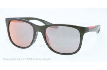 Prada PS03OS Sunglasses ROS2D2-55 - Military Green Demi Shiny Frame, Grey Mirror Rose Gold Lenses