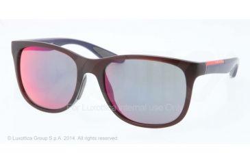 Prada PS03OS Sunglasses SL89Q1-55 - Bordeaux Demi Shiny Frame, Dark Grey Mirror Blue/red Lenses